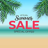 Tropical Natural Palm Summer Sale Background. Vector Illustration