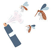 Repellent spray in the bottle. Protection from the mosquito and other insect. Aerosol for bug bite prevention. Vector illustration in cartoon style