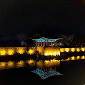 Korean temple reflection at night