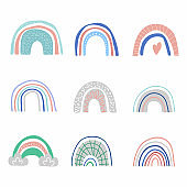 Cartoon rainbow set. Colorful rainbows chid collection of hand dawn elements. Nursery art design, for print on baby clothes and textiles, home decor, vector illustration