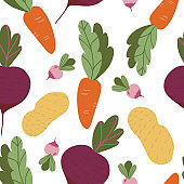 Seamless pattern with hand drawn colorful doodle vegetables. Vector texture. carrots beets potatoes radishesbackground. Vegetarian healthy food. Vegan, farm, organic, natural wallpaper