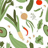 Seamless pattern with hand drawn colorful doodle vegetables. Vector texture. cucumber, celery, avocado, onion, cabbage background. Vegetarian healthy food. Vegan, farm, organic, natural wallpaper
