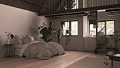Modern loft with mezzanine and staircase, parquet floor and panoramic windows. Studio apartment, open space, bedroom with bed, kitchen and balcony terrace, white interior design