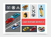 Isometric Car Repair Service Composition
