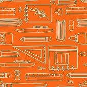 School supplies seamless pattern. Education accessories pencil and pen notebook white line doodle cartoon isolated on orange background creative design textile, wrapping paper wallpaper vector texture