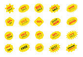 Starburst sticker set for promo sale. Vector badge shape with signs design - star and oval price tag offer promotion