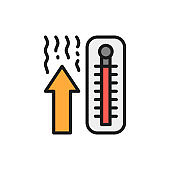 Thermometer, temperature rise flat color line icon. Isolated on white background