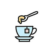 Cup of tea with honey spoon flat color line icon.