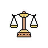 Justice scales, libra flat color line icon. Isolated on white background