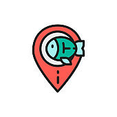 Fishing spot, fish location flat color line icon. Isolated on white background