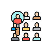 People under a magnifying glass, candidate search flat color line icon.