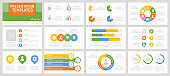 Set of yellow, green, blue and orange elements for multipurpose presentation template slides with graphs and charts.