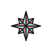 Wind rose, compass, navigation flat color line icon. Isolated on white background