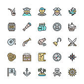 Set of Pirates Flat Color Line Icons. Sailor, Boatswain, Captain, Ship and more.