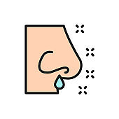 Runny nose, rhinitis, allergy, nasal mucus flat color line icon.