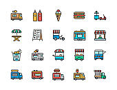 Set of Food Truck Color Line Icons. Fried Chicken, Ice Cream, Hot Dog and more.