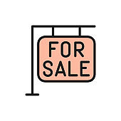 For sale sign, real estate, apartments flat color line icon.