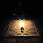Light bulb lighting up an open bible