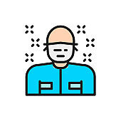 Man in medical mask, patient, surgeon, doctor flat color line icon.