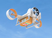 VTOL delivery drone carry pizza boxes flying in the sky