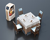 Food delivery robot stopped beside a dinner table
