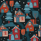 Nordic vector house pattern.