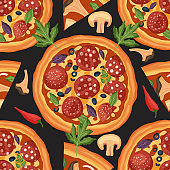 Pizza vector seamless pattern.