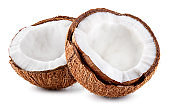 Open coconut. Coconut half isolate.  Coco isolated side view. Cut coconut. Coco slice on white background.