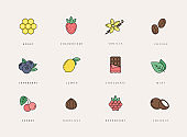 Vector set of different flavor icons, logo design template.