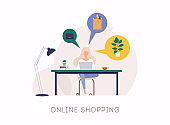 Young woman shop online using laptop. Vector Concept Marketing and Digital marketing.