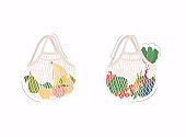 Mesh or net bags full of fruits and vegetables. Shopper with fresh food from local market.