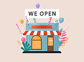 We are open. Vector illustration template for landing, banner, poster.