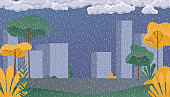 Rainy day park. Rainy season, clouds and storm, weather nature background. Flat vector illustration