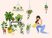 Woman watering houseplants. Vector flat cartoon illustration.