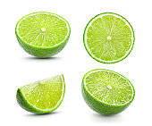 Juicy slice of lime on white background