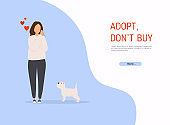Woman adopting pet from animal shelter. Colorful vector illustration in flat style.