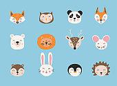 Cartoon cute animals. Hand drawn characters. Vector illustration.