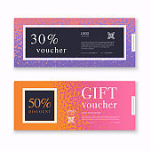 Voucher template with colorful gift box, certificate. Background design coupon, invitation, currency. Vector illustration.