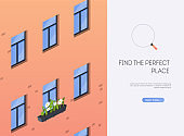 Find the perfect place. Real Estate concept, template for sales, rental, advertising.