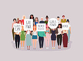 Women protesters. Vector illustration of people holding signs, banner and placards on a protest demostration or picket.