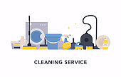 Cleaning service concept design for web banners, infographics. Flat style vector illustration.