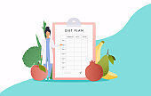 Healthy food and Diet planning. Plan your meal infographic with dish and cutlery. Flat design style modern vector illustration concept.