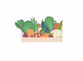 Basket with a seasonal harvest. Bright vector illustration of colorful vegetables.