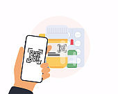Scan QR code from pills to Mobile Phone. Application on a smartphone.