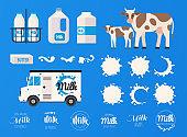 Milk concept. Set of milk bottles, splashes, logos. Natural dairy products.