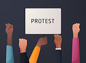 Raised up hands silhouette holding white banner with Protest caption on it. Revolution, demonstration, manifestation themed vector illustration.