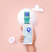 3D Web Vector Illustrations. Hand holding mobile smart phone with mobile app atm search.