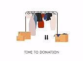 Clothes donation. Boxes full of clothes. Vector concept illustrations.