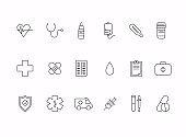 Health, bold line icons. Medicine, health care, pharmaceutics, hospital, line icons
