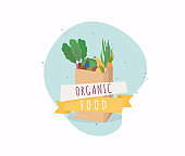 Organic food in paper bag. Healthy eating vector concept with flat fruits, vegetables and copyspace.